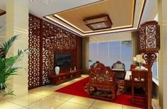 Chinese classical furniture set with wooden TV wall