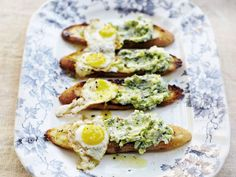 toasts with ramp butter and fried quail eggs