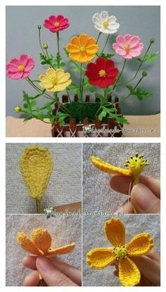 Crochet Flower Patterns Spring Flower Free Crochet Diagrams - We gathered a couple of more Crochet Pretty Flower Free Patterns to share with you. All of them look very beautiful even with only few colors. Bouquet Crochet, Crochet Puff Flower, Crochet Flower Tutorial, Knitted Flowers, Crochet Flower Patterns, Crochet Roses, Crochet Ideas, Diy Flowers, Beaded Flowers