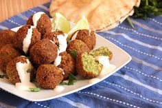 Falafel with Mint and Garlic Sauce