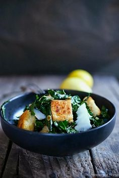 How to make gluten-free, golden, grunchy millet croutons (pictured: Tuscan Kale Caesar with Millet Croutons).