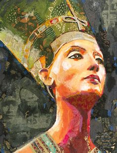 figurative collage by Janet Black. Nefertiti, portraits, Egypt, fine art