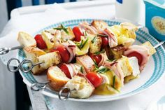 Chunky Bread, Ham And Runny Cheese Skewers by Taste.Com.Au. Enjoy a lazy meal in the sun with a simple, fresh and indulgent dish that will leave you with sticky fingers and a smile.