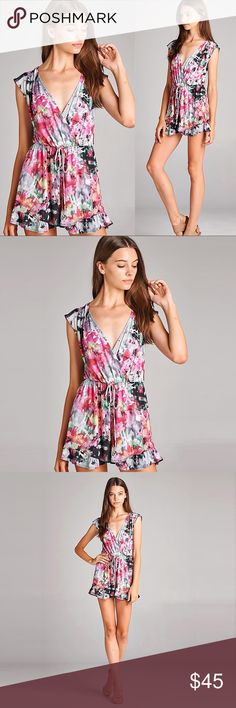 """Pink / Gray Bohemian Floral Romper ❤️ BUNDLES ❌ NO TRADES ❌ NO Low balling!  • Made in U.S.A. • 95% polyester, 5% spandex   * MEASUREMENTS: • • SMALL: - Length: 26"""" Approx - Bust: 34.75"""" Approx • • MEDIUM: - Length: 27.25"""" Approx - Bust: 36"""" Approx • • LARGE: - Length: 28.25"""" Approx - Bust: 38.75"""" Approx • Pants Jumpsuits & Rompers"""