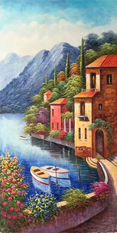hand-made oil painting,decoration,mura… – Ayşe Yılmaz – Join the world of pin Seascape Paintings, Nature Paintings, Landscape Drawings, Landscape Paintings, Cottage Art, Mural Art, Pictures To Paint, Scenery, Canvas Art