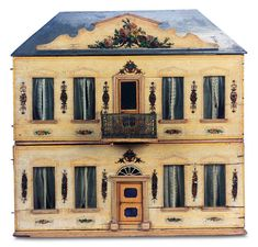 """Very Rare and Beautiful German Wooden Doll House by Christian Hacker    22""""w. x 12""""d. x 26""""h.  Circa 1890"""