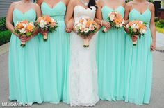 Coral and peach bouquets accented with mint dresses. Roses, dahlias, lisianthus, hypericum