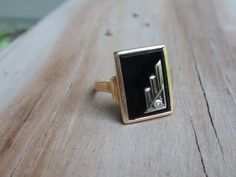 Art Deco Onyx and Diamond 10k yellow gold by LuceesTreasureChest