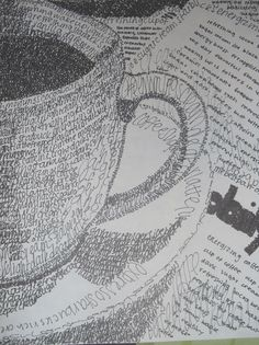 Word Art Drawings Black And White Ideas Word Art, Art Postal, Observational Drawing, Drawn Art, Arte Sketchbook, High School Art, Art Graphique, Art Plastique, Line Drawing