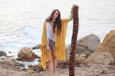 Beautiful beach babe @dancingwithflyingcolors in our fave Stardust Kimono in MUSTARD  ONE SIZE FITS ALL & available now   Shop Now & Pay Later with AFTERPAY!  http://ift.tt/1kqYGi7