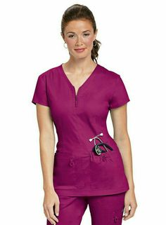 Shop for Koi Stretch Mckenzie Zip Neckline Scrub Top at Jens Scrubs. Everyday Low Pricing and Fast Shipping. Cute Scrubs, Koi Scrubs, Scrubs Outfit, Scrubs Uniform, Scrubs Pattern, Doctor Coat, Black Scrubs, Greys Anatomy Scrubs, Medical Uniforms