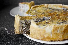 A beautiful, enormous Thomas Keller mushroom quiche, SmittenKitchen style.
