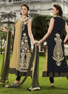 Wholesale Cream & Black Designer Salwar Suits Collection Buy this full catalog @ http://www.wholesalesalwar.com/salwar-suits?catalog=vogue-1559