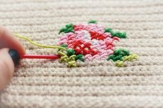 embroidery cross stitch on crochet