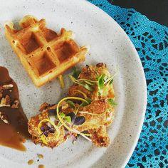 The main number. Chicken and waffles! @DinnerPartyYVR  #testkitchen #dinnerpartyyvr #foodie #chickennwaffles #instagood #instafood #brunch #twitter
