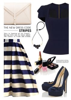 """""""Bold Stripes"""" by jan31 ❤ liked on Polyvore featuring Chicwish, Roland Mouret, Chanel, Marni, stripes, Pumps, clutches, navy and BoldStripes"""