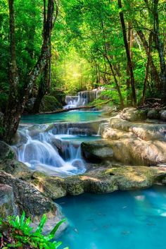 Tropical Blue Waterfalls is part of Beautiful waterfalls - Beautiful Waterfall in Thailand tropical forest Beautiful Nature Wallpaper, Beautiful Landscapes, Beautiful Landscape Photography, Waterfall Wallpaper, Beautiful Places, Beautiful Pictures, Beautiful Forest, Beautiful Scenery, Beautiful Beautiful