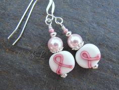 Light Pink Swarovski Pearl & Pink Ribbon Glass by cblandcompany, $11.00