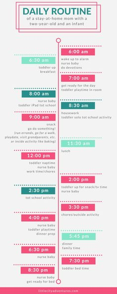 An awesome example of how to plan out your day when you have an active toddler AND a newborn. It even includes tot school!