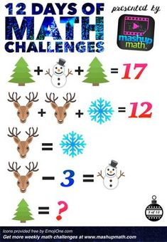 Challenge Math Worksheets are You Ready for 12 Days Of Holiday Math Challenges Maths Puzzles, Math Worksheets, Math Resources, Math Activities, Math For Kids, Fun Math, Math Challenge, Third Grade Math, Sixth Grade