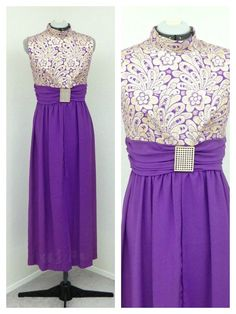 Vintage 60s Purple Lurex Maxi Dress, Space Age Dress, Futuristic Dress, Metallic Dress, Evening Gown, Long Formal Dress, Sci Fi Dress