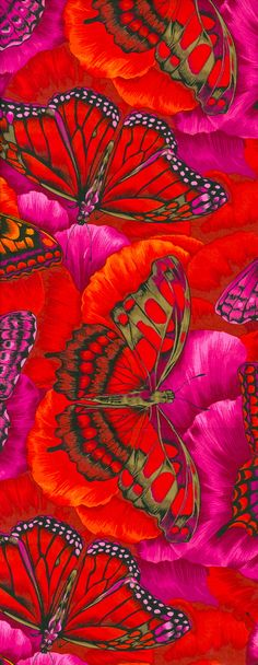 Red , pink, orange butterflies