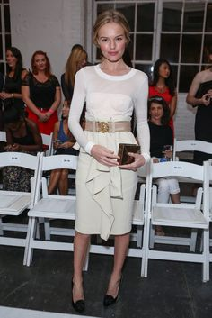 Celebrate Kate Bosworth's Big 3-0 With a Look at Her Effortlessly Cool Style: Kate was front row for Altuzarra's September 2012 runway show in a white long-sleeved dress that she cinched at the waist with a bold belt. She accessorized with a gold envelope clutch from JewelMint.