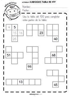 tabla 100 números ejercicios