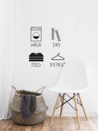 Muursticker Wash Dry Fold Repeat Met Symbolen Laundry Room, Home Decor, Washing Machine, Laundry Rooms, Interior Design, Home Interior Design, Laundry, Home Decoration, Decoration Home
