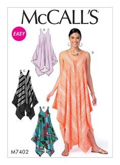 Misses' Handkerchief-Hem, Tent Dresses and Jumpsuit. McCall's M7402 sewing pattern.