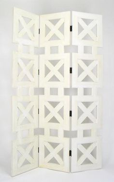 PERFECT !!!!!!!!   Hunter 84 in. Tall Whitewash Basswood Privacy Screen - 3 Panels