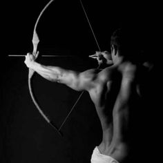 Archery- all about engaging the back muscles for a powerful draw.Cool pic!