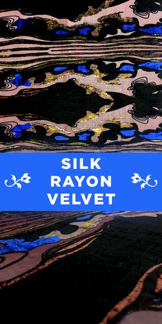 """Silk and Rayon Burnout Velvet Panel with Abstract """"Tom Ford"""" Design in Blue, Black, and Pink"""