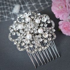 ELISE - Vintage Inspired Wedding Hair Comb, Pearl and Crystal Rhinestone Flower Bouquet Bridal Hair Comb, Wedding Hair Accessories