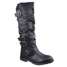 Womens Knee High Boots Strappy Ruched Leather Adjustable Buckles Black Generation Y