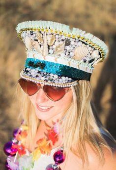 4b78670eb Festival Hat, Burlesque Hat, Captain Hat, Burning Man Hat, Military Hat,  Custom