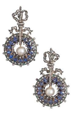 Frédéric Boucheron - A pair of antique enamel and imitation pearl earrings, Paris, circa 1878. 4.5 x 2.5cm. #Boucheron #antique #earrings