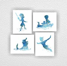 Disney, Peter Pan Silhouette, Captain Hook Silhouette, blue Watercolor Silhouette, Boy Room Playroom Decor Art Set 4-8x10, Instant download by myfavoritedecor on Etsy https://www.etsy.com/listing/215032612/disney-peter-pan-silhouette-captain-hook