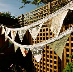 tshirt DIY bunting - adorable and I totally should do this with old band merch I don't wear anymore!!