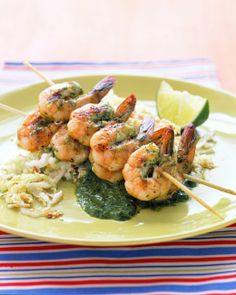 Cilantro-Grilled Shrimp with Seasame Cabbage Recipe ---modify asian cilantro sauce with coconut aminos, olive oil & apple cider vinegar to make it truly paleo.