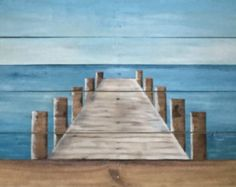 Original painting of a pier extending out into the water draws you into it. It was created by painting on reclaimed pallet board wood. The bottom board includes sand. It measures approximately 35 wide by 24 high. Perfect for your lake or beach house.   Free shipping.
