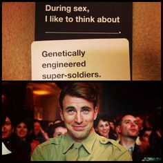 Haha! This is the best Cards Against Humanity match ever!! Love me a super soldier!