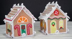 Miniature 3D Gingerbread Houses Embroidery Project by Pat Williams