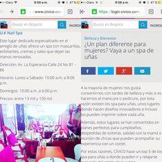 😍😍 Cuando despiertas y te das cuenta que eres primicia en las noticias de uno de los portales mas interesantes para planes en Bogotá. Que dicha tan grande UK:  https://www.civico.com/bogota/noticias/un-plan-diferente-para-mujeres-vaya-a-un-spa-de-unas?utm_source=Newsletters&utm_campaign=fded6f66c6-Editorial_24_de_junio6_24_2016&utm_medium=email&utm_term=0_64a4d6805c-fded6f66c6-97137581