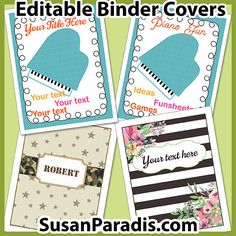 This is a set of four binder covers. Three of the covers are editable so you can add your own text. Teaching Aids, Piano Teaching, Teaching Resources, Binder Covers Free, Text Games, Assignment Sheet, Best Piano, Free Piano, Piano Lessons