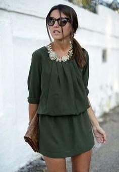 Hunter Green Dress + Statement Necklace