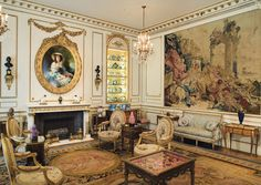 French Drawing Room, Beauvais tapestries, Sèvres porcelain, glistening gold boxes, and French Gobelin tapestry upholstered chairs.
