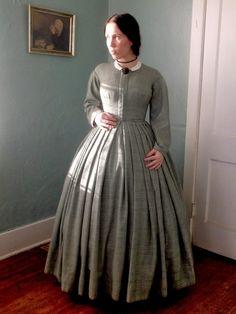 Romantic History: Green Plaid 1860's Dress for Winter Quarters