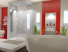 salle de bain colore maison salle ma salle salles de bain dco maison harmonieusement des quotidien blanc bois pour de bois - Salle De Bain Rouge Et Blanc