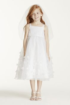 Child s Veil with Pearls and Flowers - White